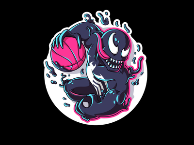 🎃 Playoff: New Dribbble Player on Court halolab stickermule player scary color sketch art graphic sticker marvel venom spooky halloween playoff illustration