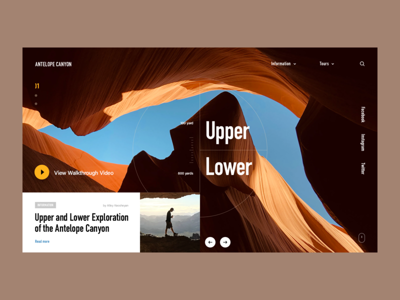 🏜 Antelope Canyon Website travel navigation grid fullscreen mainpage halolab canyon website ux ui web promo