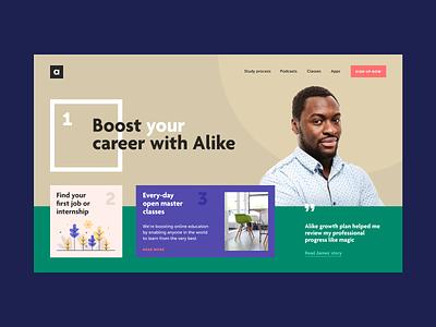 Alike Career Agency Concept workshop job profession internship career ux ui mobile color application app