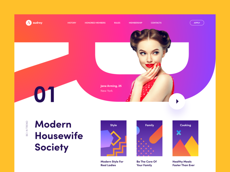 Modern Housewife color promo web ui recommendations recipes meal women household website housemaid housekeeper club membership style housewife information relationships cooking society