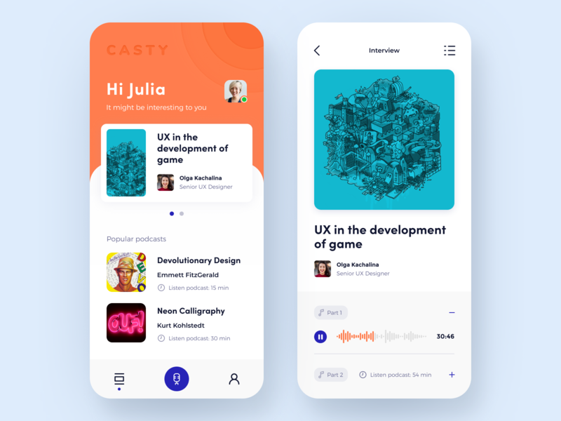 Casty — Podcast Player App education app product design mobile design content information communication speaker topic enjoyment leisure blog subscribe create listen podcasting entertainment podcasts app podcasts player application audio app