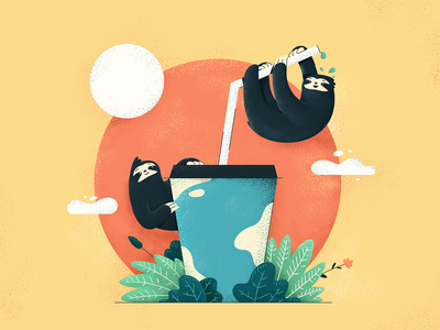 Lazy Sloths Illustration structure theme aesthetics composition project thinking colour mood drawings visual artwork image graphic picture web platform activity design teamwork illustration