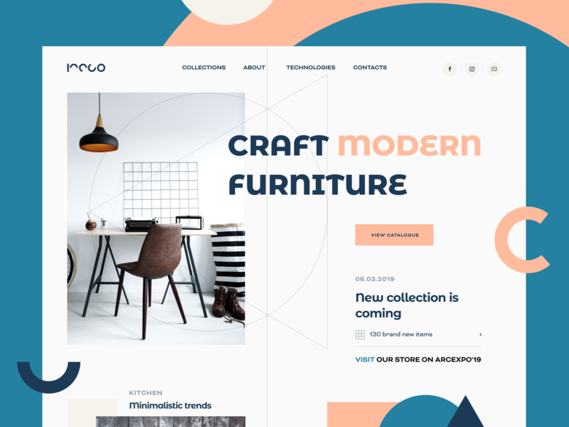 Iteco Furniture Promo Website web design product interior decoration aesthetics composition equipment piece catalogue furniture website artwork image graphic promo web platform design kraft furniture
