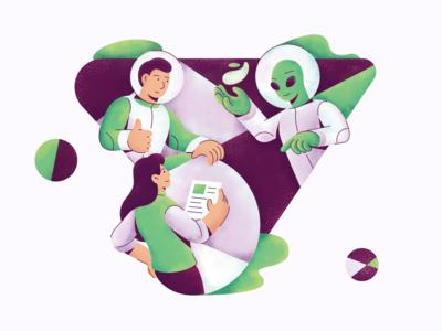 Worldwide Team Collaboration Illustration