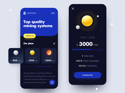 Сrypto Mining Mobile UI dark mobile promo concept interface configuration business productivity tools software system profit investment crypto app exchanges cryptology earning income cryptocurrency crypto mining