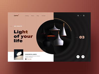 Lens Promo Web Catalogue home illumination lighting interface ux ui website category label lamp design interior colour blog information light lightning promo catalogue web