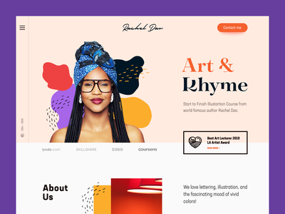 Art & Rhyme Website art lecturer skills knowledge educational platform studying colours aesthetic artist entertainment activity digital technologies information mentorship learning e-education art web web business design