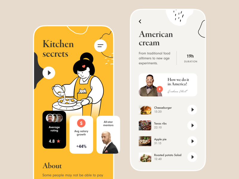 Kitchen Secrets Mobile App mobile android ios app application eat chef food recipe cuisine masterpiece painting illustration tasty delicious cooking culinary cooking app activity industry