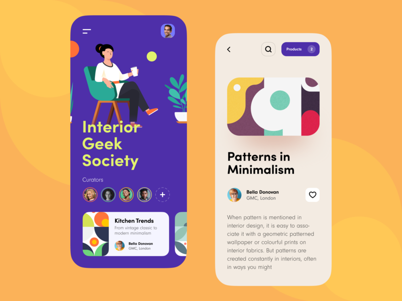 Interior Geek Society Mobile App color ux ui android ios mobile social app product interior graphic furniture design decoration blog catalogue artwork aesthetics