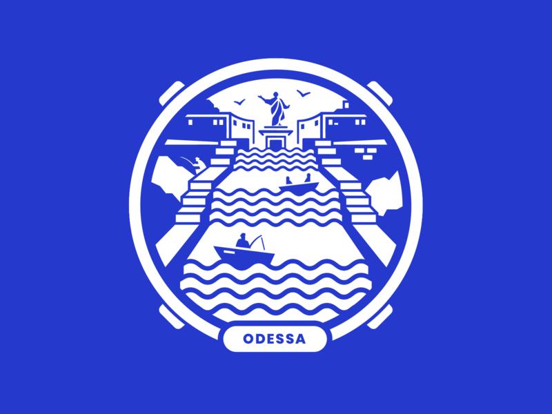 Warm-up 01: Odessa City Sticker dribbble ukraine graphic sea odessa branding vector logo playoff sticker challenge sightseeing hometown colours dribbbleweeklywarmup art masterpiece illustration