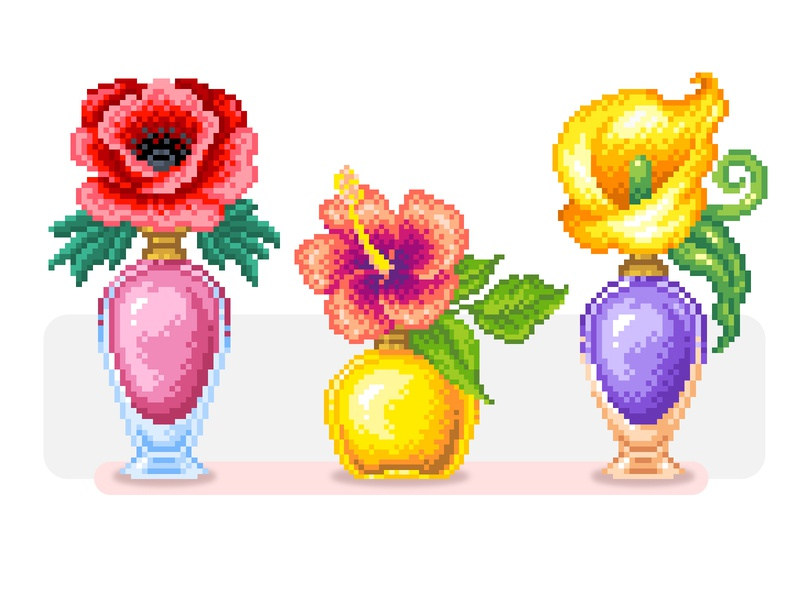 Pixel Art Illustration perfume bottle flowers pixelartist art pattern colors graphicdesign design illustration pixel art pixelart