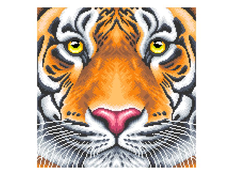 Pixel Art Illustration cat pixels gradient tigerillustration animal tiger pixelartist pixel art pixelart graphicdesign illustration design