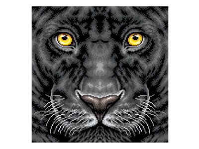 Pixel Art Illustration pixels illustration art cat animal illustration animal black panther graphicdesign design pixelartist pixelart pixel art illustration