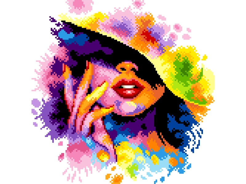 Pixel Art watercolor illustration watercolor colorful woman illustration woman pixels graphicdesign colors pixelartist design pixelart illustration pixel art
