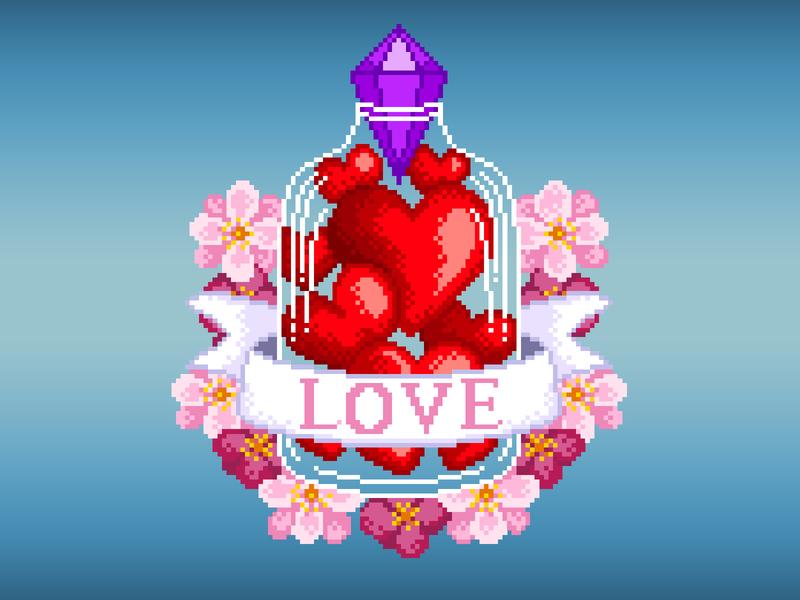 Pixel Art illustration art flowers bottle love heart pixels gradient graphicdesign design colors pixelart pixelartist illustration pixel art
