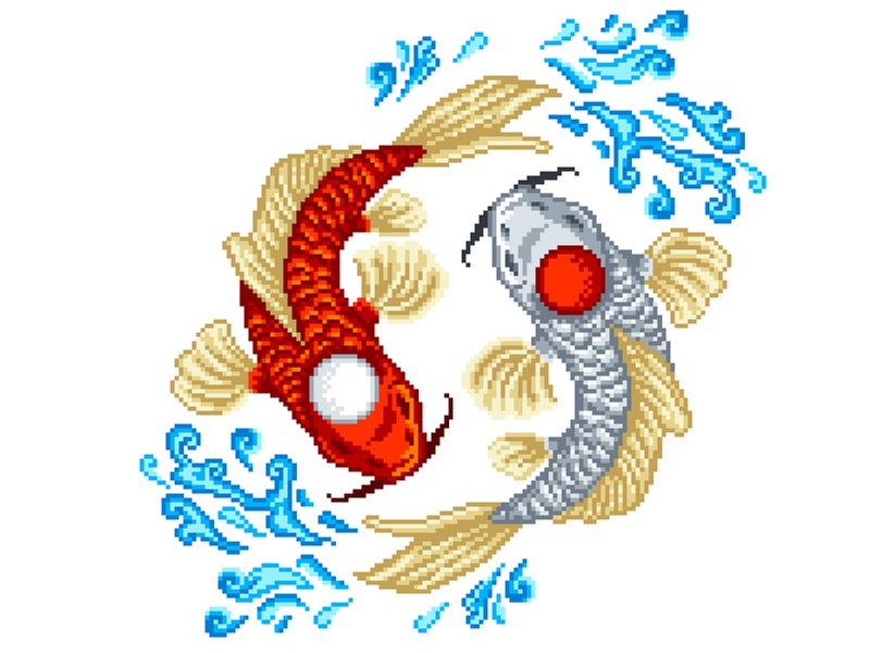 Pixel Art japanese art japan pixels art fish koi pixelartist pixelart illustration
