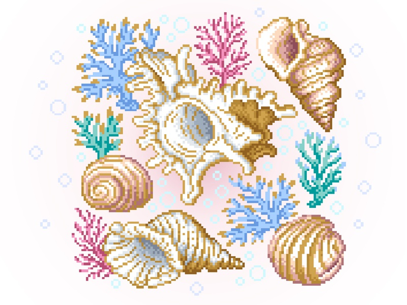 Pixel Art pattern corals draw sketch shells photoshop gradient pixels pixelartist design illustration pixelart