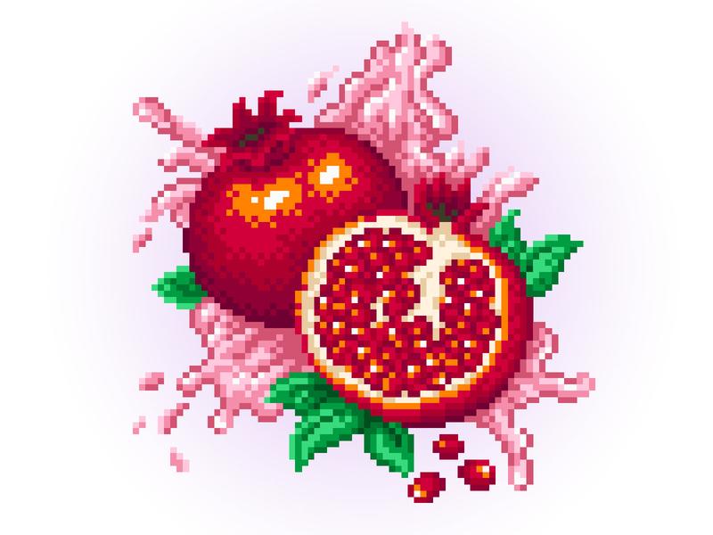 Pixel Art foodillustration fooddesign graphic red juice food fruits app garnet fruit illustration fruit pixels pixelartist design illustration pixelart