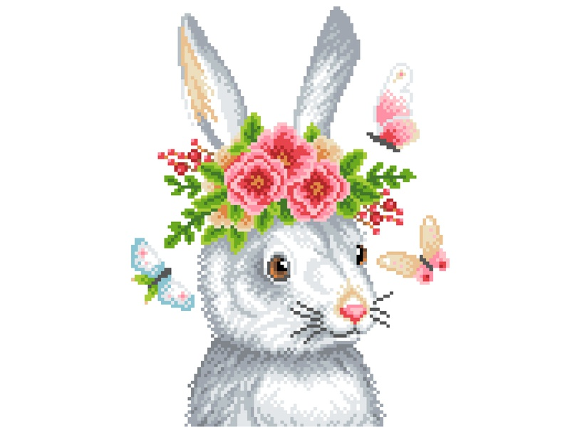 Pixel Art animal rabbit flowers illustration art character design pixels pixelart pixelartist graphicdesign design illustration