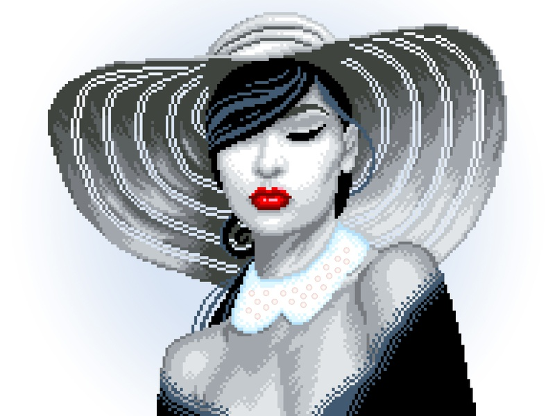 Pixel  Woman gradient black and white woman illustration woman lady illustration art character design pixels pixelartist pixelart design illustration