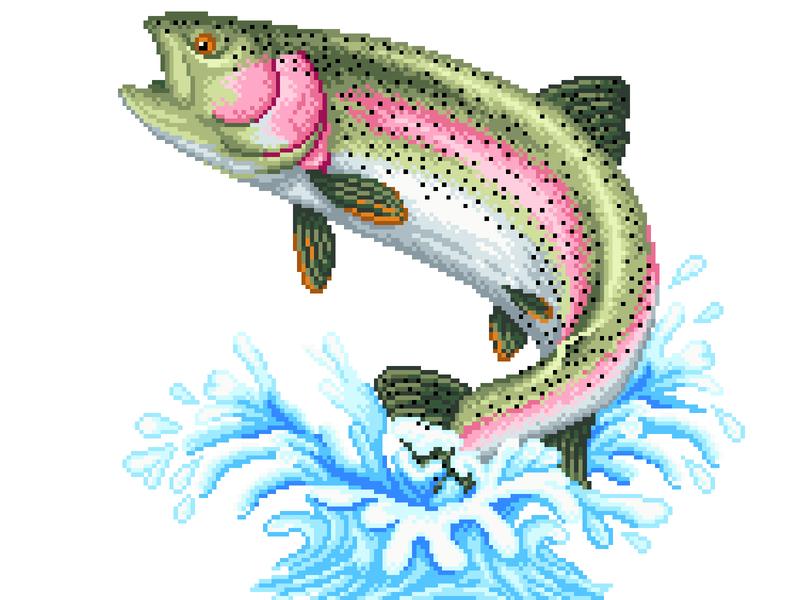 Pixel Art trout 8 bit pixel art green fish illustration art pixelartist character design pixels pixelart graphicdesign illustration
