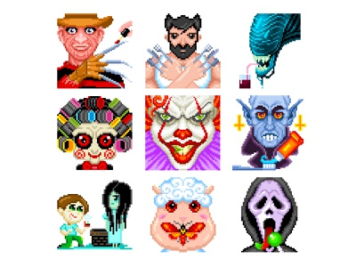 Horror Pixel Art funny characters horror films halloween design halloween horror characters horror character design illustration illustration art pixelartist pixelart pixels