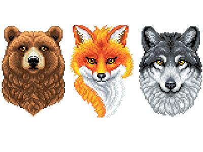 Pixel Art Animals 8bit pixelartist bear wolf fox illustration pixel perfect animals illustration art graphicdesign illustration character design pixels pixelart