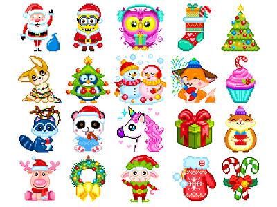 Christmas Pixel Art pixels pixel art christmas illustration christmas character design illustration art design pixelartist illustration graphicdesign pixelart