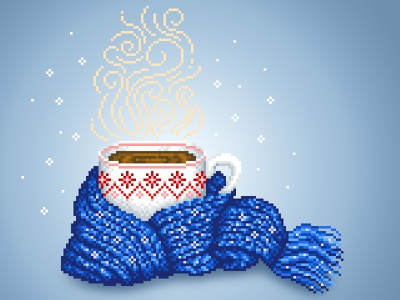 Winter Mood 2d design blue christmas coffee cup coffee winter illustration pixel art pixels