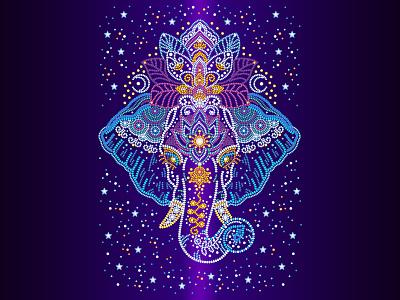 "Illustration ""The sacred elephant"" vector illustration space elephant vector art vector gradient colors illustration art character design illustration design"