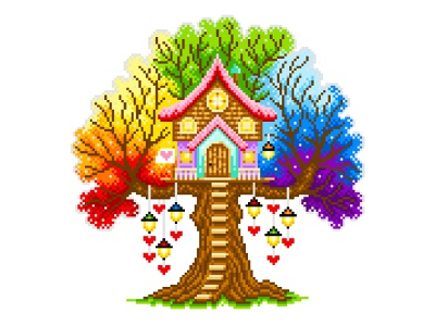 "Illustration ""Dreamer's house"" colorful design colorful colors rainbow gradient illustration art graphicdesign illustration pixelartist pixelart"
