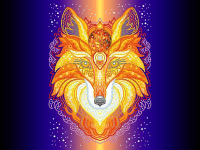 """Illustration """"Flame fox"""" digital illustration abstract design vectorart fox illustration fox vector illustration vector character design illustration art graphicdesign illustration"""