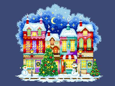 Pixel Art Christmas colorful motley city winter graphic design christmas illustration art design pixelartist pixels pixelart illustration