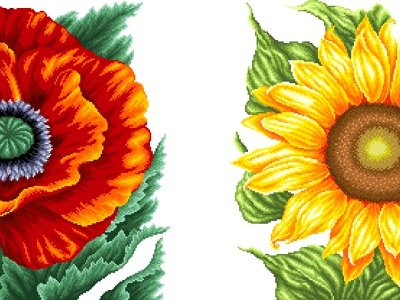 Summer flowers. Pixel art red yellow colorful sunflower poppies flower illustration flowers pixel perfect illustration graphicdesign design illustration art pixelartist pixels pixelart