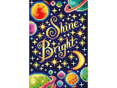 Shine Bright. Pixel Art. space illustration navy blue stars pixel perfect shine illustration art design graphicdesign illustration motivation space pixel art pixel pixelartist pixels pixelart
