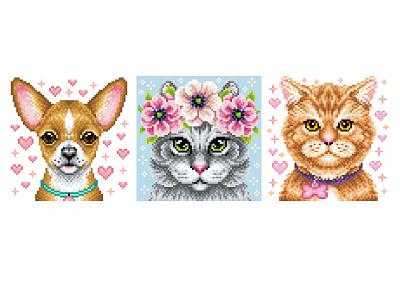 Pets. Pixel Art. animal illustration digital art pixel perfect character design character illustration art design graphicdesign illustration pixel artist pixel art pixels animals animal dog cat pets