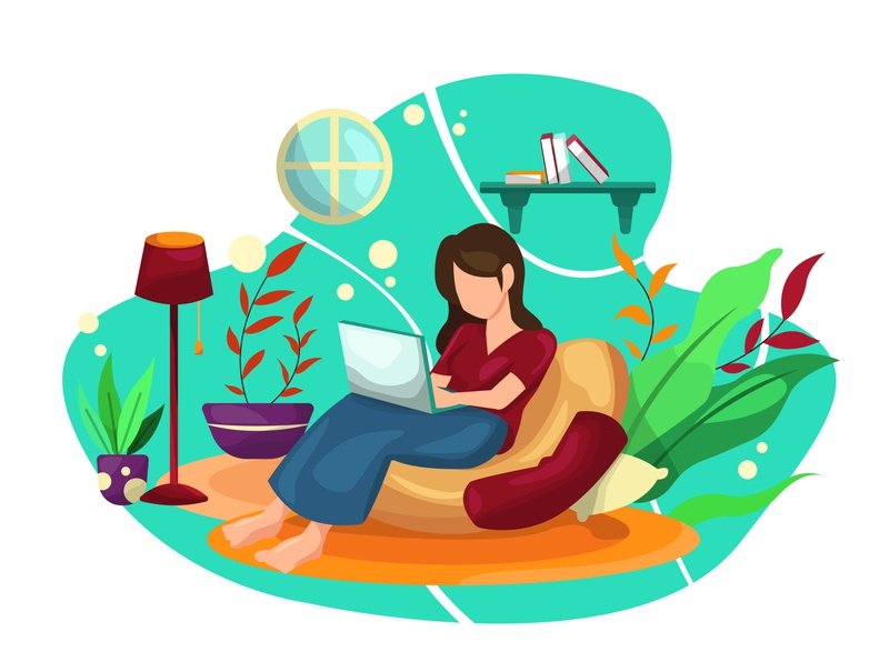 Watching Film and Stay Home workfromhome sitting art design flat style illustration vector flatstyle illustration art artwork films watching stay safe stayhome