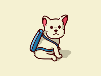 puppy with a bag simple minimal dog puppy illustration mascot cartoon cute logo