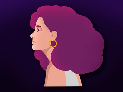 Woman's portrait app branding ui website procreate vector illustration flat design art