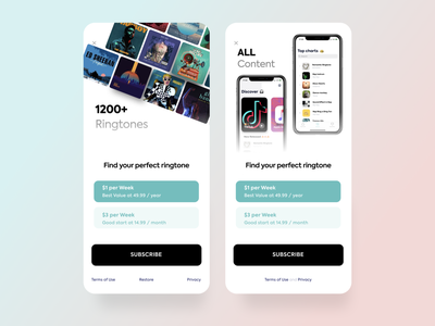 Ringo paywall. Subscribtion purchase pricing plan pricing page payment music app music ringtone subscription pay paywall app userinterface ux mobile figma application interface ui design