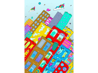 Skewed City Illustration