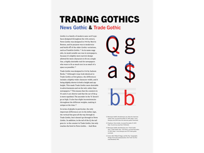 Typeface Comparison trade gothic news gothic adobe indesign digital graphic design typography