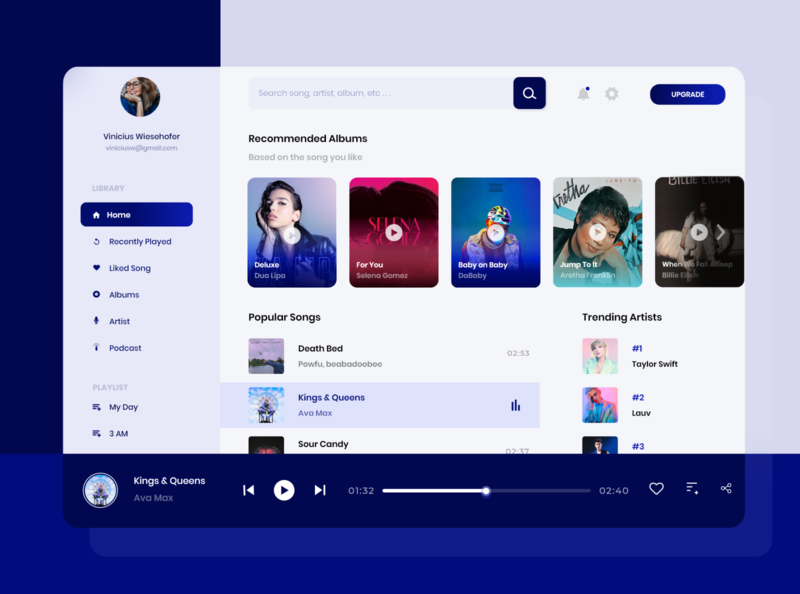Music Player - Web App figma player dashboad mobile app design mobile app mobile design mobile ui music adobe ui ux app
