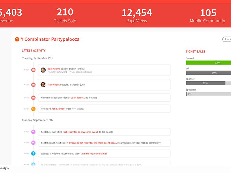 Real-time dashboard web eventjoy dashboard