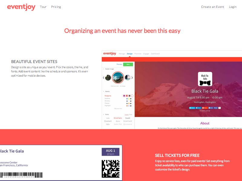 Tour page marketing site eventjoy