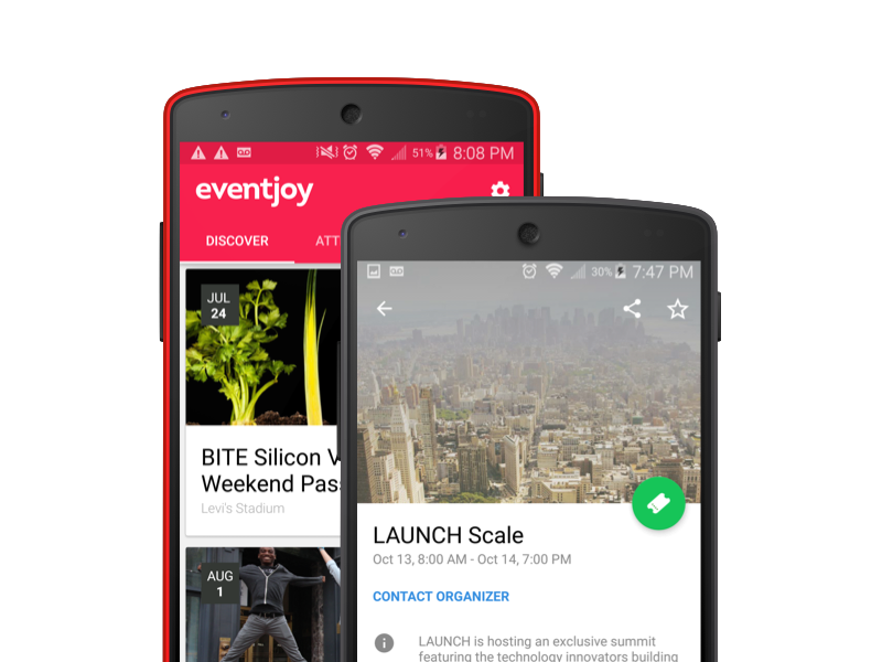 Eventjoy for Android material tickets events registration ticketing