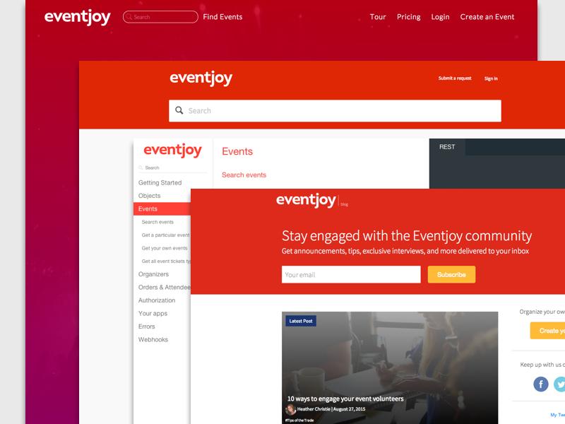 Various Eventjoy pages help center api documentation blog landing page events