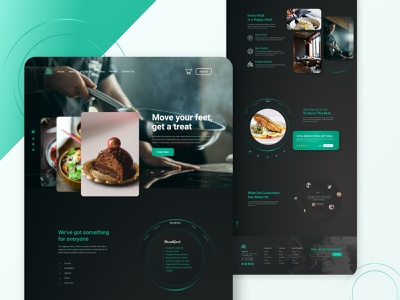 Food Restaurant Landing Page chef meal web template typography ux ui dribbble shot web design black dark clean website landing page restaurant food