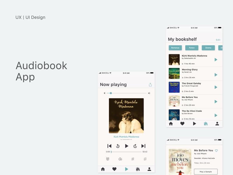 Audiobook App | UX/UI Design vintage clean ui design clean minimalist sketchapp uiux uxdesign ux uidesign ui mobile ui mobile design mobile app design mobile app mobile audiobook app design application app