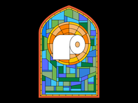 Bloodrush Stained Glass bloodrush music window design digital toilet paper roll toilet paper stained glass illustration